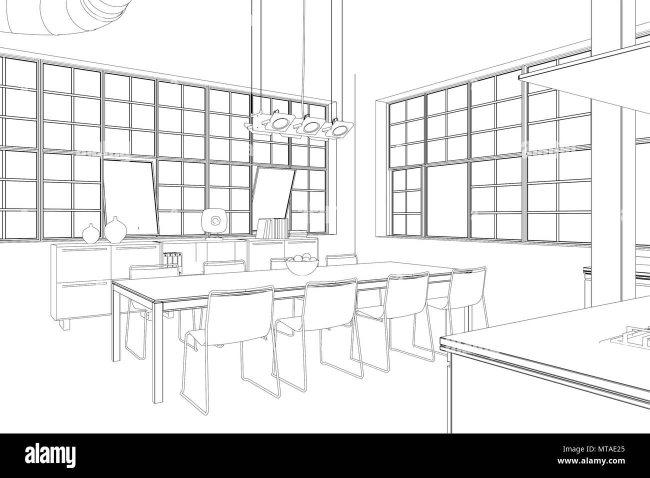 Innenarchitektur Loft Esszimmer benutzerdefiniertes Zeichnen ...