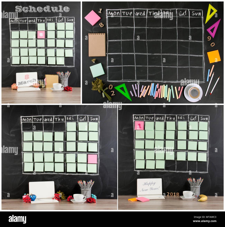 Raster Zeitplan Zeitplan mit Deko schwarzes Brett Hintergrund. Neues ...