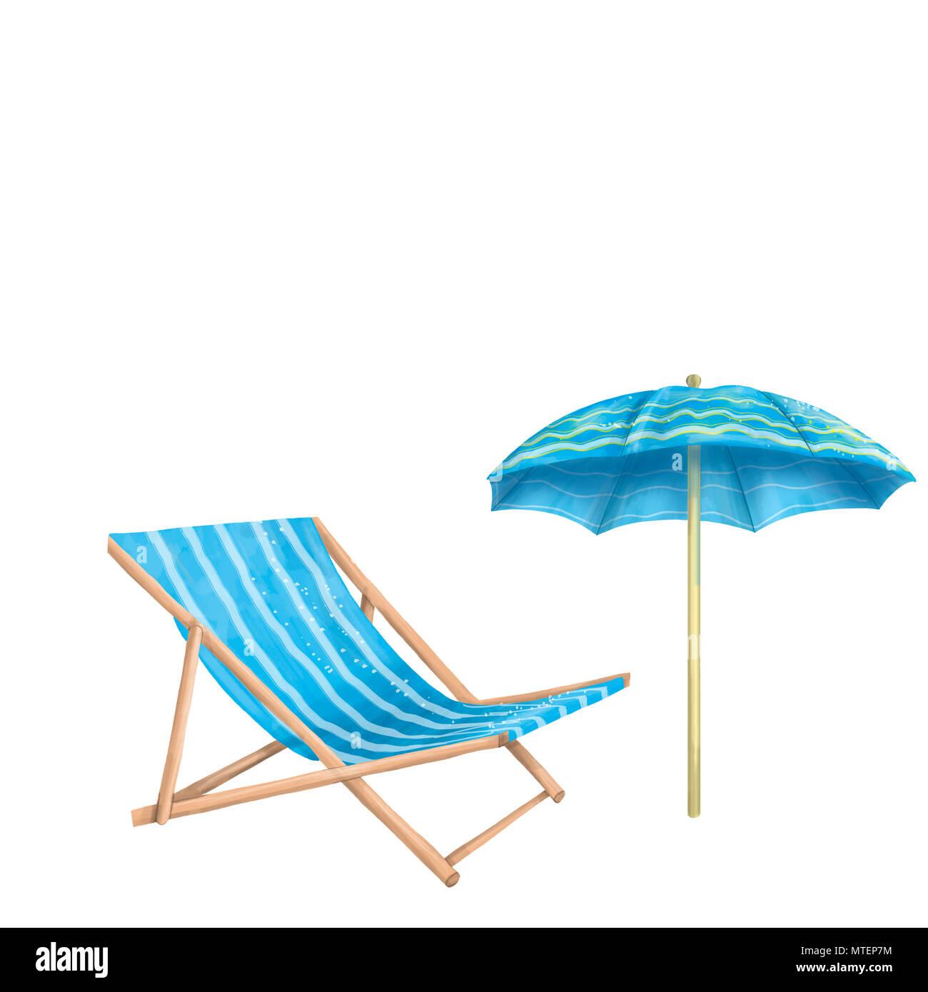 Liegestuhl mit sonnenschirm clipart  Chaise longue, Sonnenschirm, digitale Clipart auf weißem Hintergrund ...