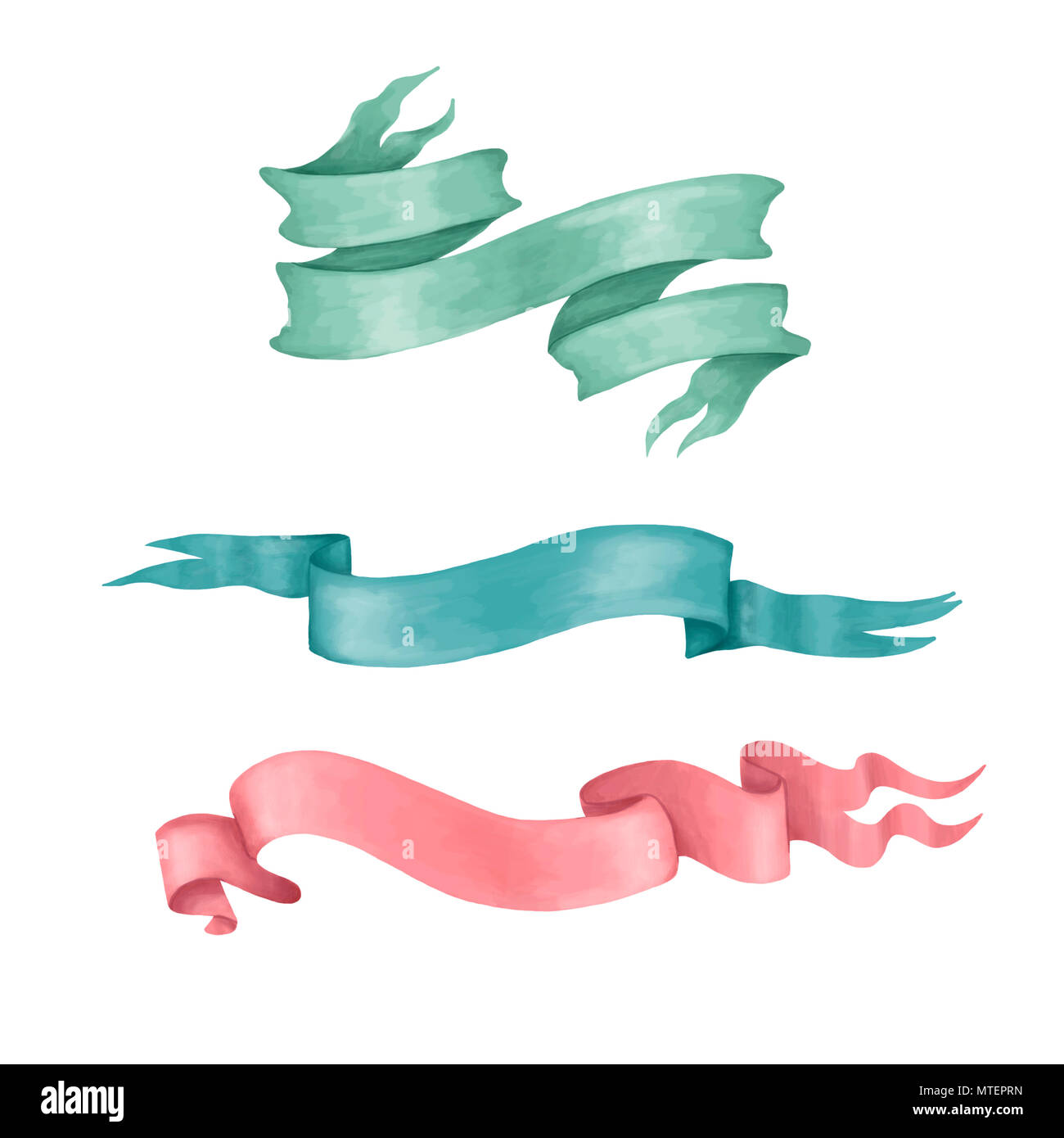 Farbbänder clip art digitale Ribbon Set-flag Farbe Grün Rot Blau für Hochzeit, Geburtstag, Feier auf weißem Hintergrund Stockbild