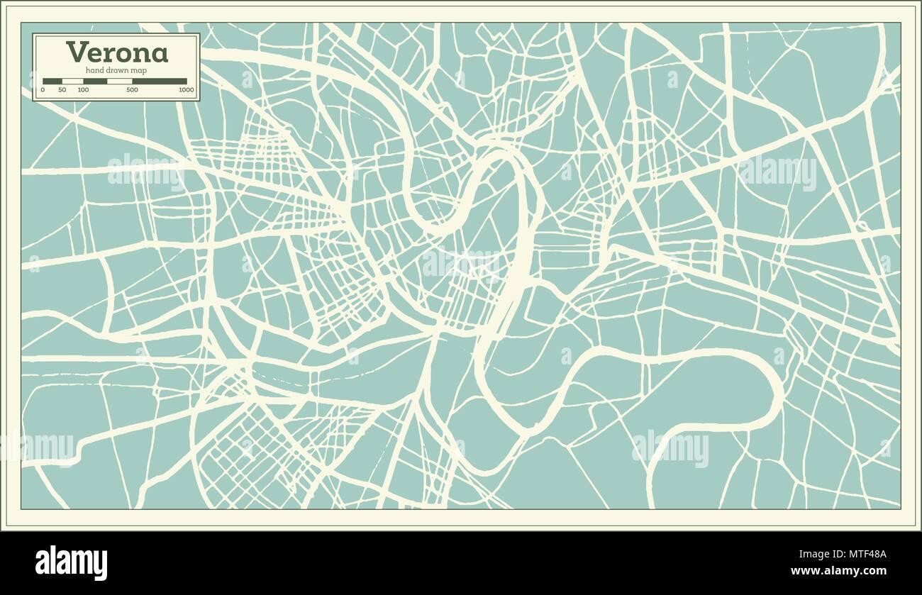 Verona Italien Stadtplan Im Retro Stil Ubersichtskarte Vector
