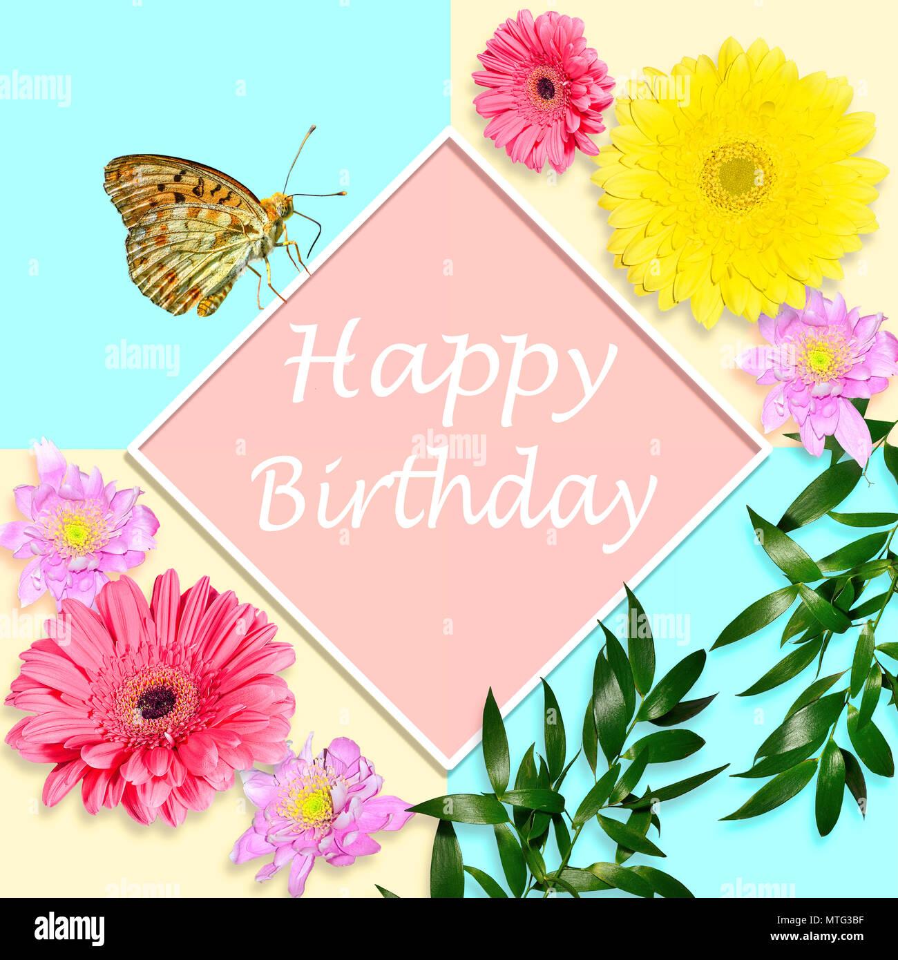 Happy Birthday Spring Flowers Stockfotos & Happy Birthday Spring ...