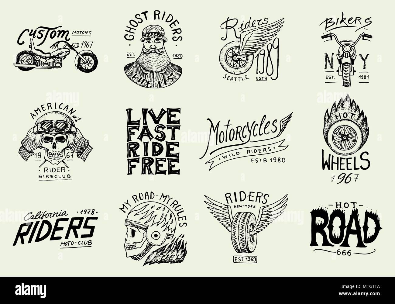 Motorräder und Biker club Vorlagen. Vintage custom skull Embleme ...