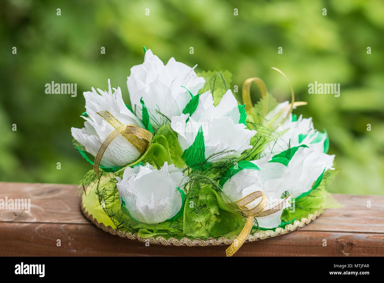 Papier Weiße Blüten Aus Papier Blumenstrauß Aus Papier