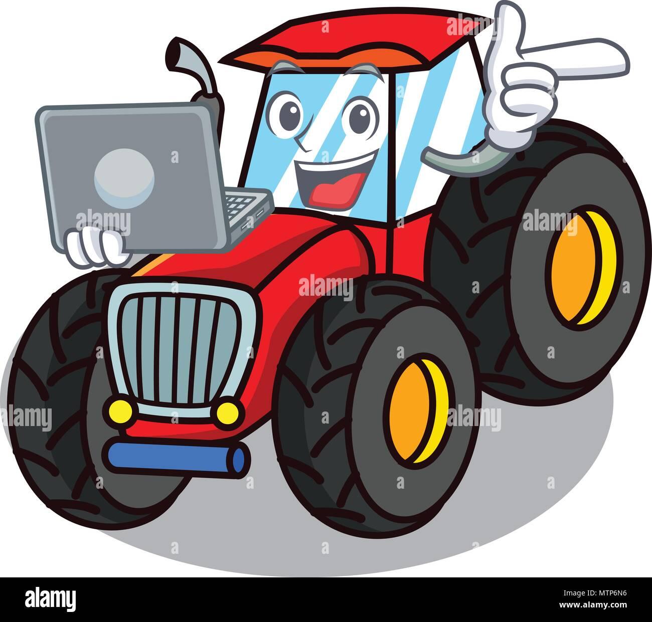 Mit Laptop Traktor Charakter Cartoon Stil Vektor Abbildung Bild
