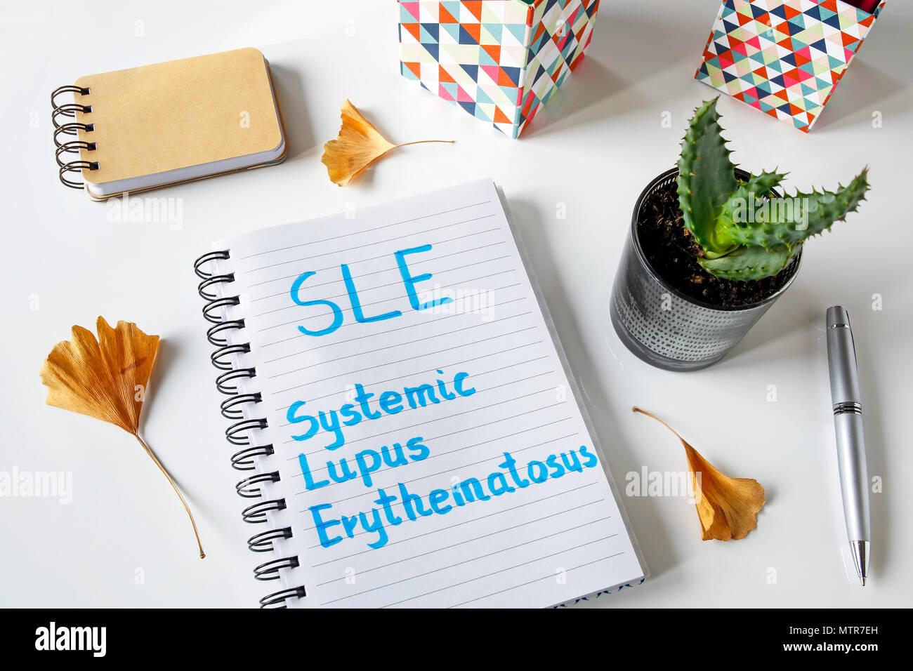 SLE Systemischer Lupus Erythematodes in einem Notebook auf weißem Tabelle geschrieben Stockbild