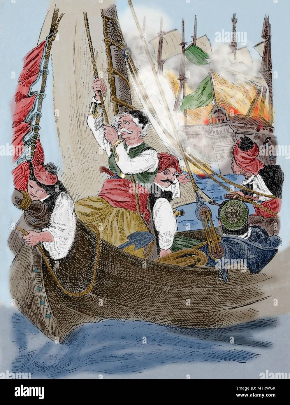 Zerstörung des Osmanischen Flaggschiff auf Chios von Admiral C. Kanaris (1795-1877), 1822. Griechische Unabhängigkeitskrieg. Stockbild
