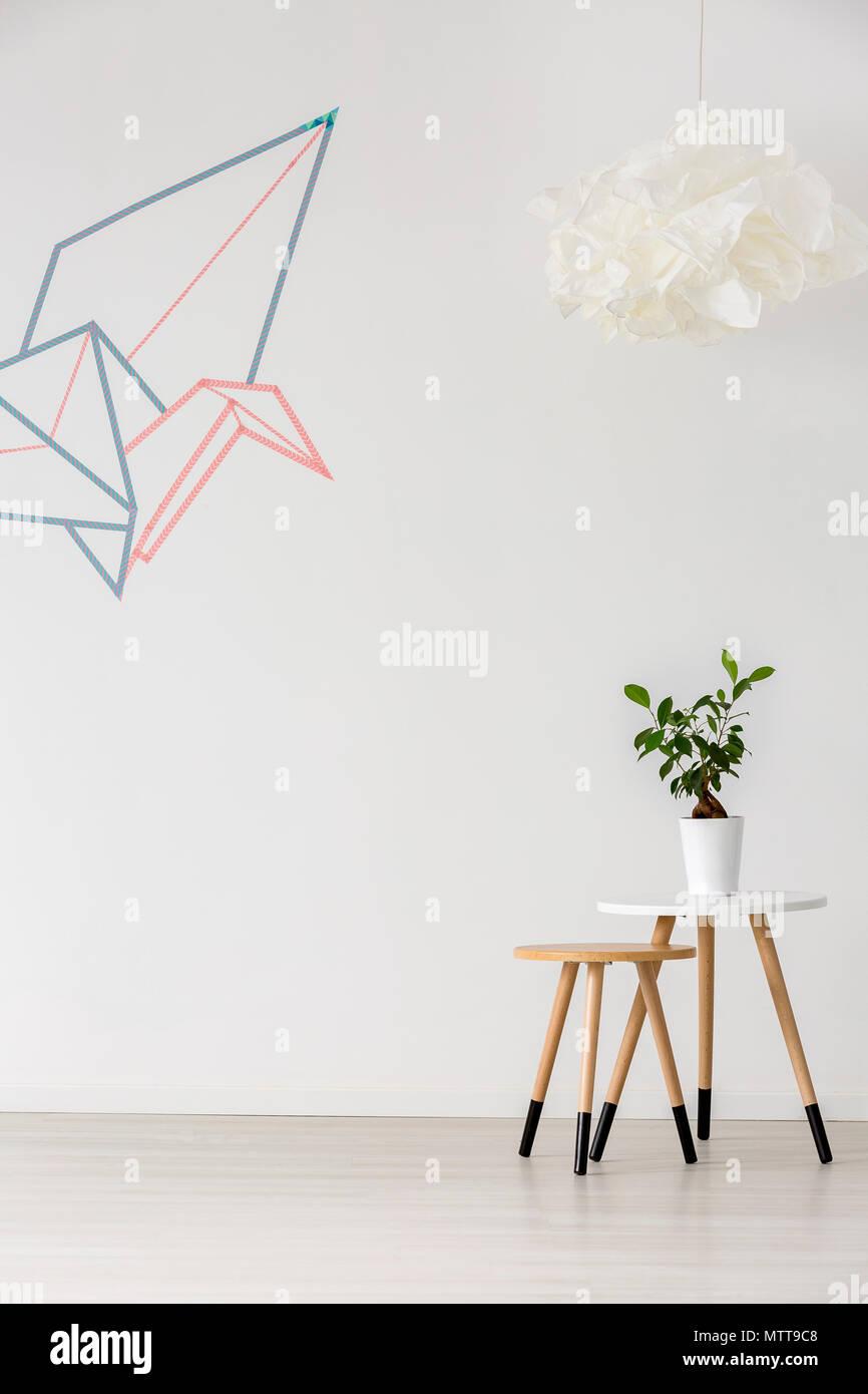 einrichtung mit minimalistisch asiatischem design, origami grafik - einfache einrichtung im minimalistischen, Design ideen