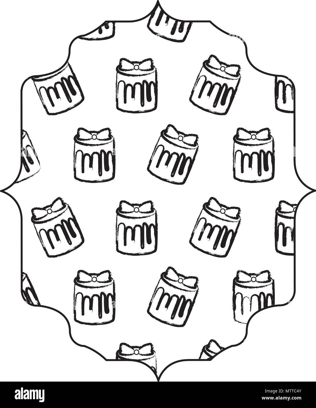 Arabisch Rahmen mit süßer Kuchen Muster auf weißem Hintergrund ...