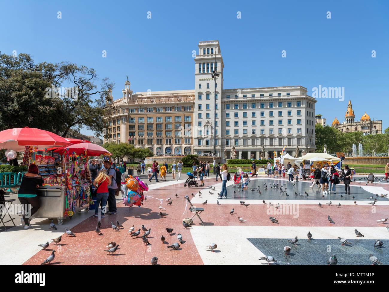 Placa de Catalunya, Barcelona, Spanien Stockbild