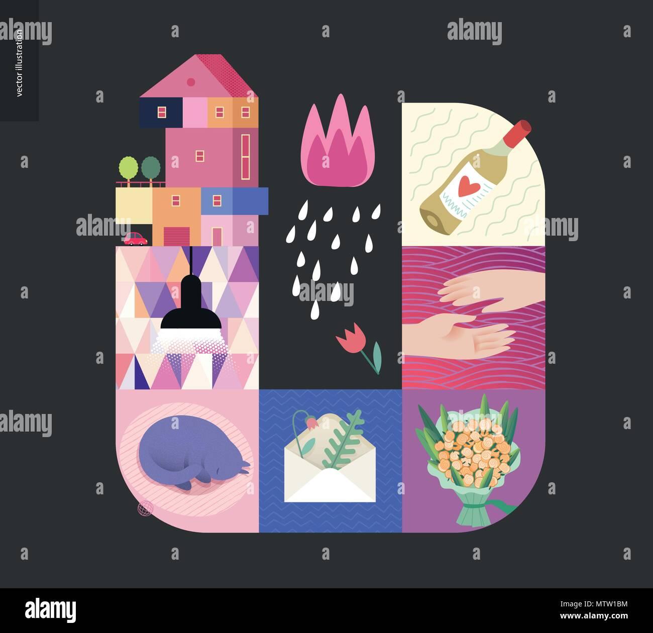 Einfache Dinge - Startseite - Flachbild cartoon vector Abbildung: Haus auf dem Land, schwarz Lampe, schlafende Katze, Umschlag mit Herbarium, Bouquet, zwei Hände, w Stock Vektor