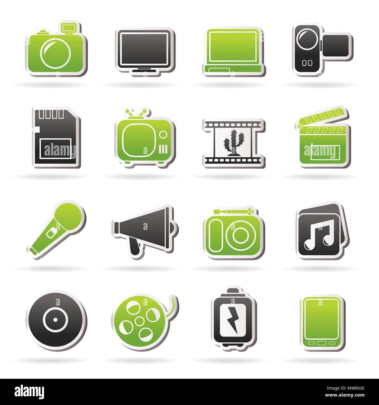 Wonderbaar Multimedia und Technik Symbole - Vektor Icon Set Vektor Abbildung AL-98