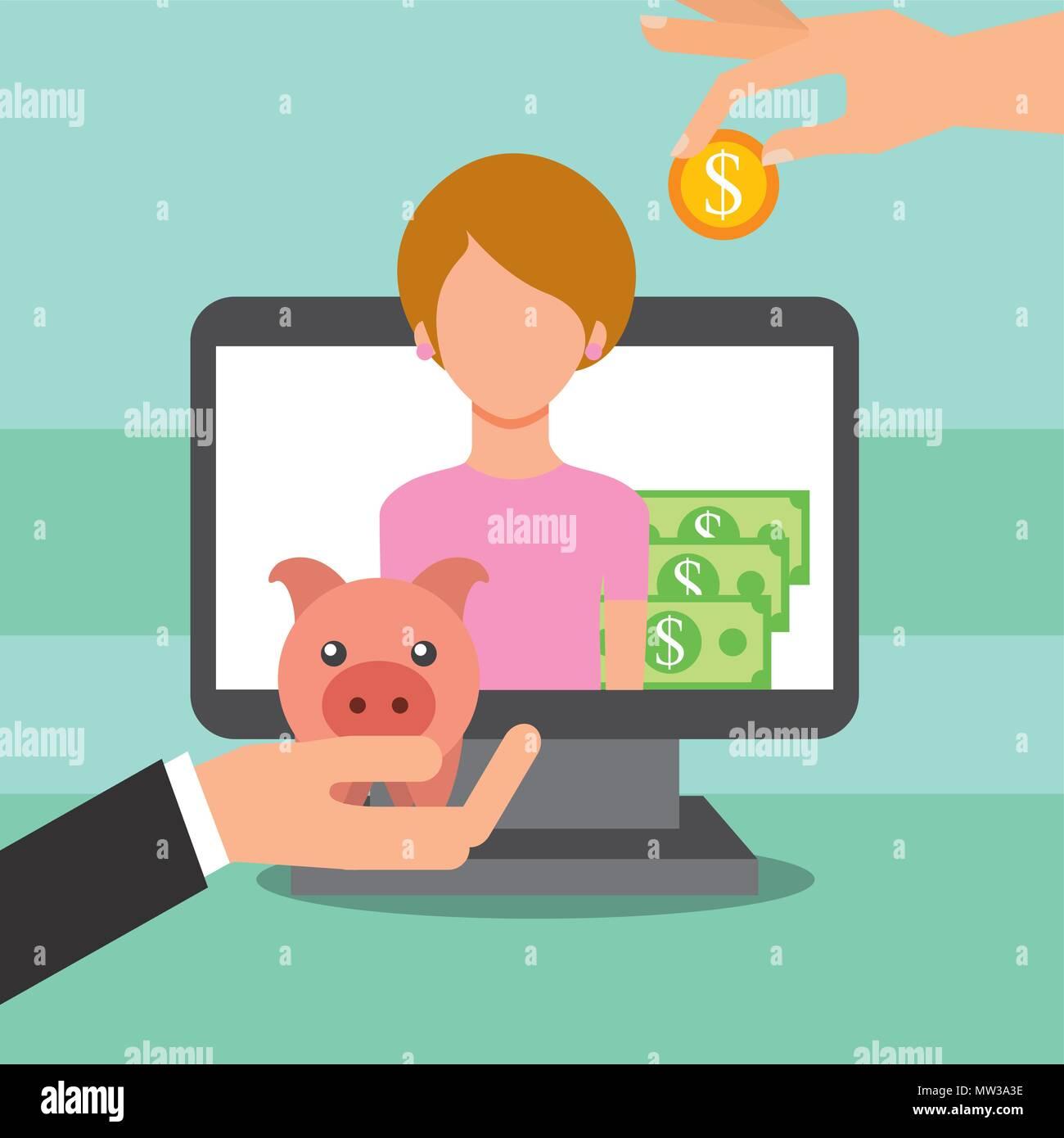 Leute, die Geld sparen Stockbild