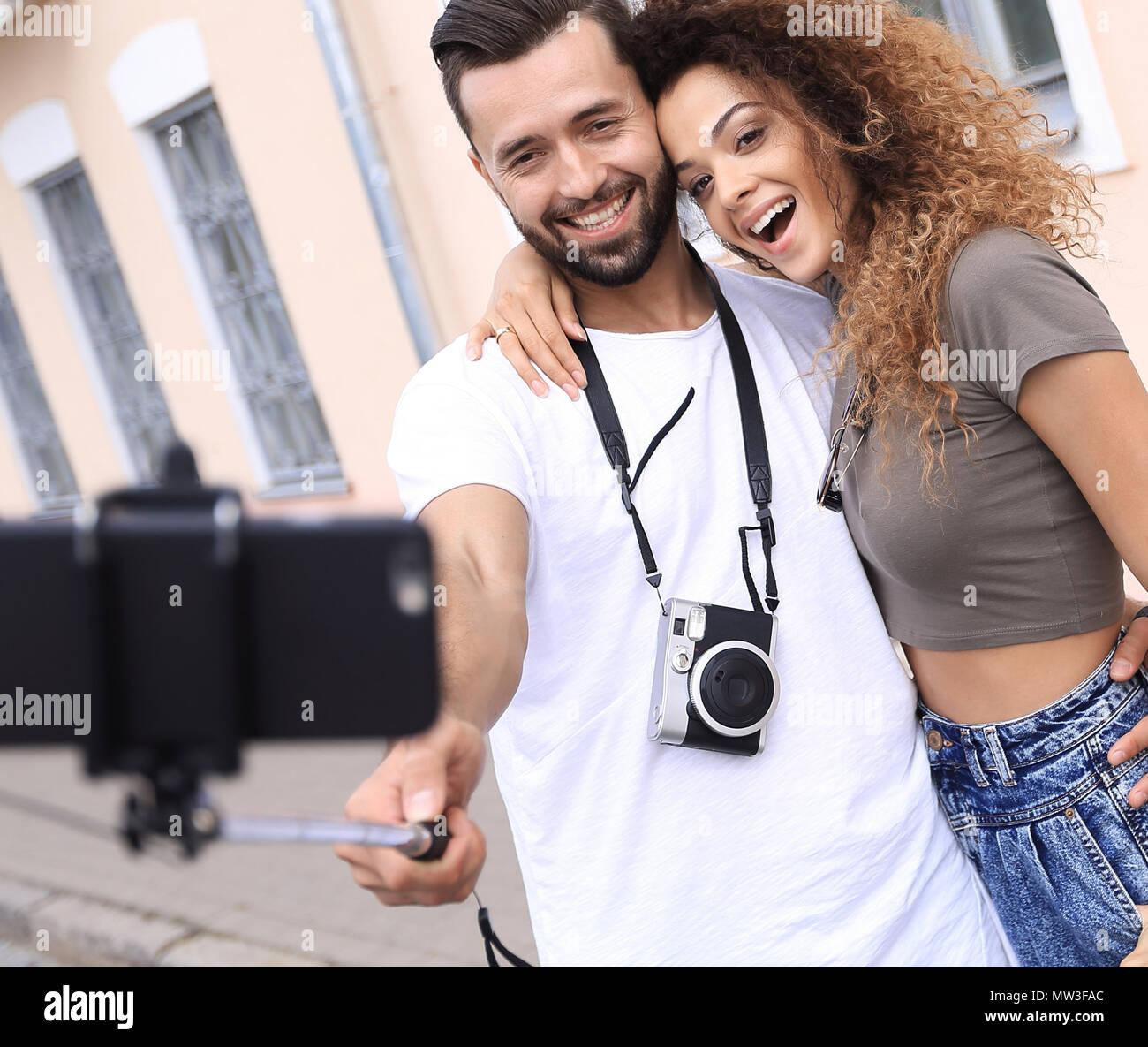 Happy Reisen Paar machen selfie, romantische Stimmung. Stockfoto