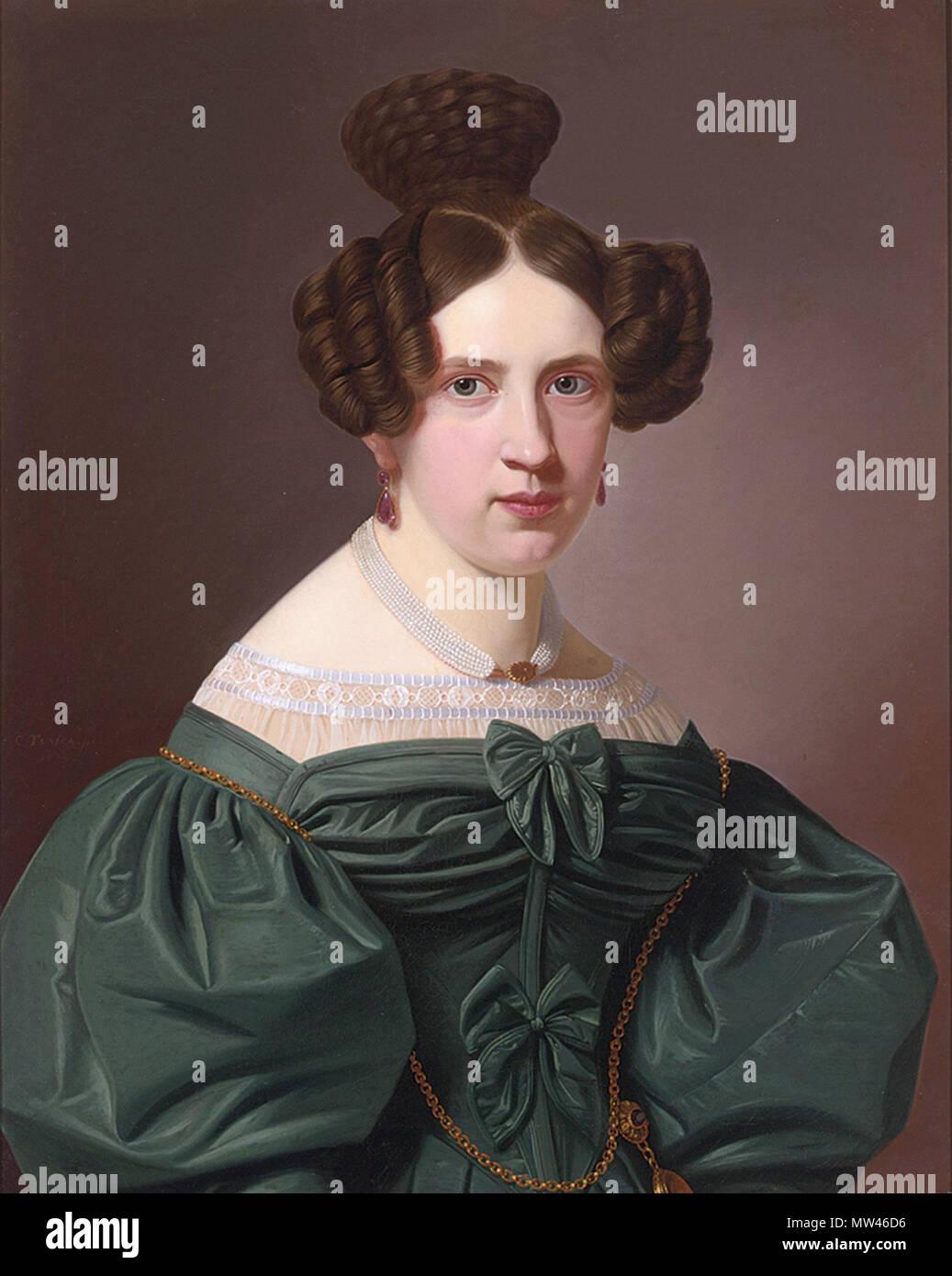 Englisch  Emilie Feustell, trug ein grünes Kleid mit Spitze gesäumt, von  Christian Tunica. 19. Johann Christian Ludwig Tunica 185 Emilie Feustell cc1d37018f