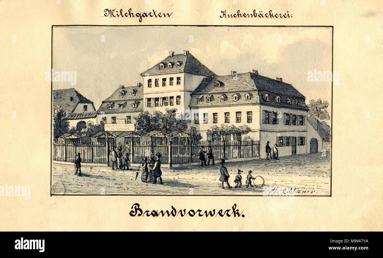 . Deutsch: Das Brandvorwerk in Leipzig um 1860. um 1860. Adolf Eltzner, Zeichner in Hamburg um 1850 96 Brandvorwerk Eltzner 1860 Stockbild