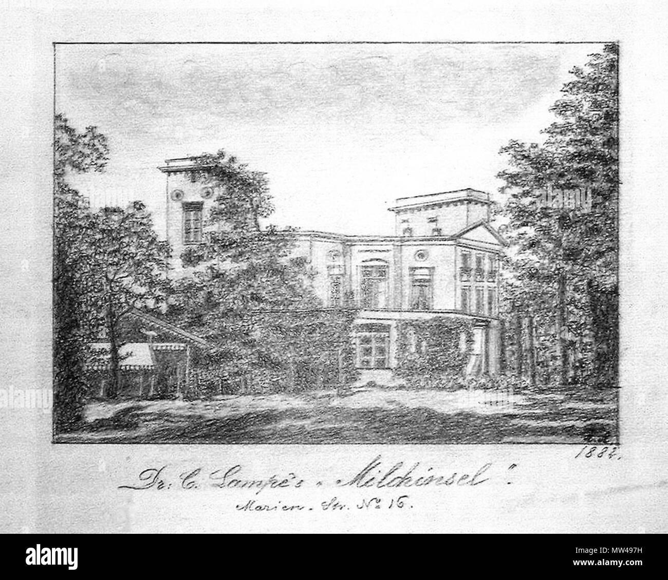 . English: Marienstraße 16 - Dr. Lampes Milchinsel (Bleistiftzeichnung). 1882. A. A. (Zeichner) 366 Leipzig Marienstraße 16. Stockbild