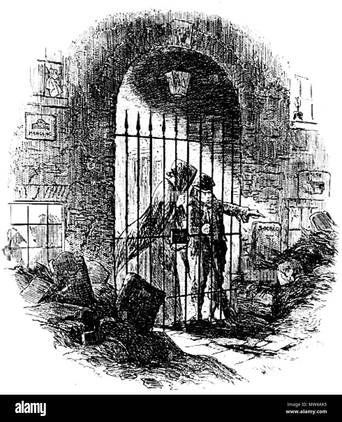 Englisch Geweihter Erde Phiz Hablot K Browne 1853 Radierung 4 1