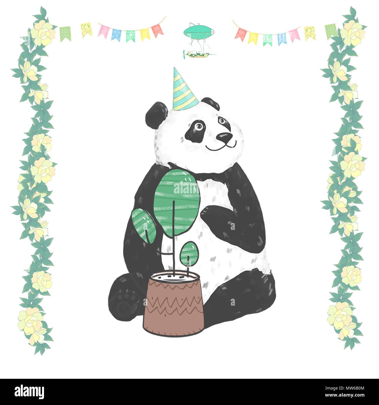 Panda clip art Zeichnung Tiere für Feier Geburtstag Karte gesetzt ...