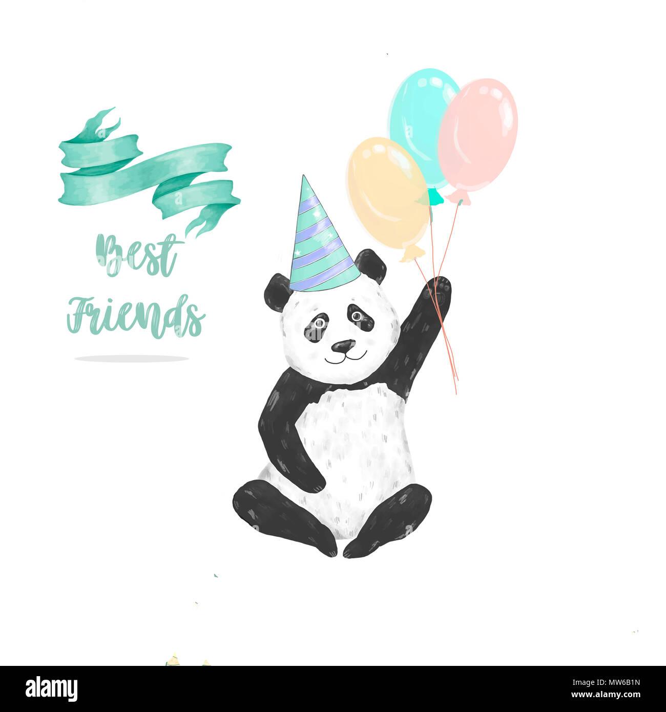 Panda Clip Art Zeichnung Tiere Für Feier Geburtstag Karte Gesetzt