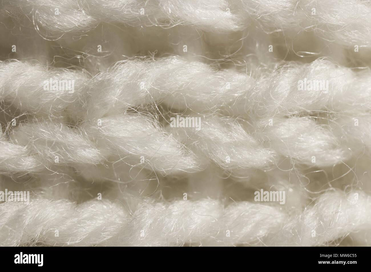 Weißer Wolle Stricken Textur Horizontale Zusammen Weben Häkeln