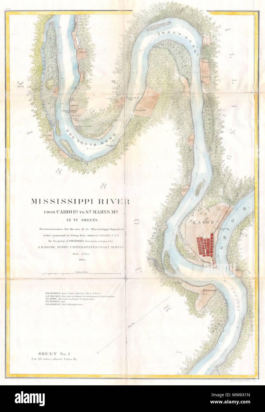 Mississippi River von Kairo aus Illinois zu St. Mary\'s Missouri im ...