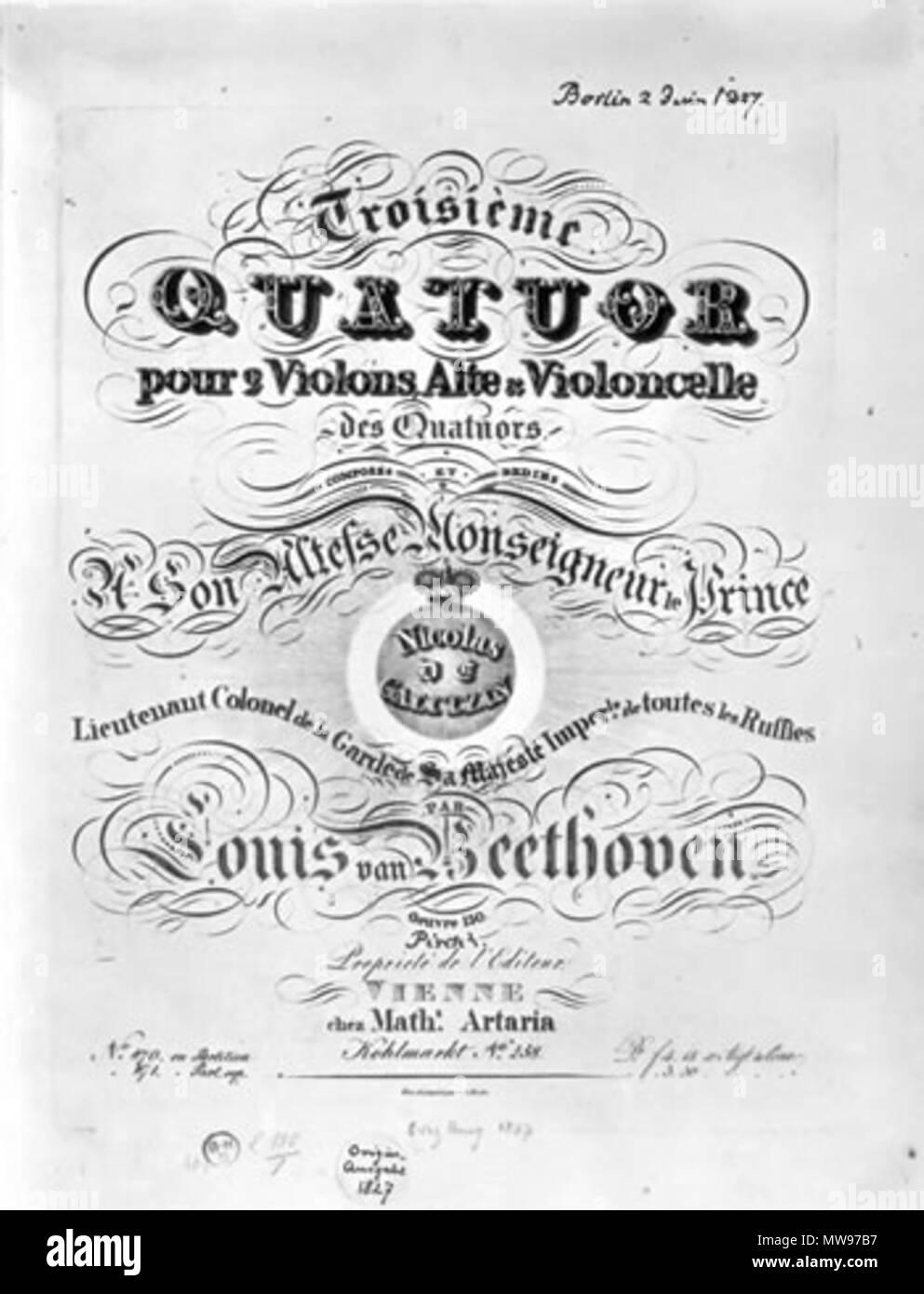 Englisch Deckblatt Des Dreizehnten Beethovens Streichquartett Wie