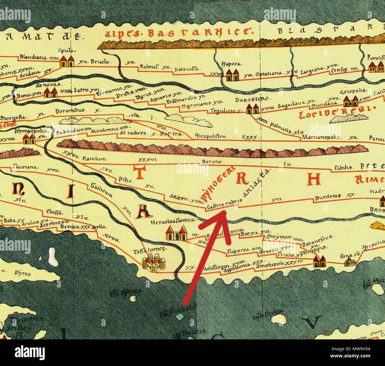 Bulgarien Karte Deutsch.Englisch Ausschnitt Aus Tabula Peutingeriana 1 4 Jh Ce