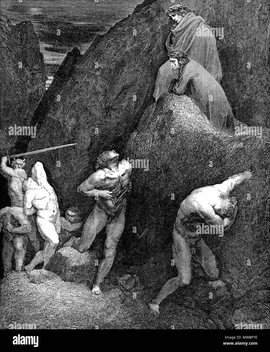 Pluto Und Virgil Dante Alighieri Art Hölle Gravur Gustave Golden 1861