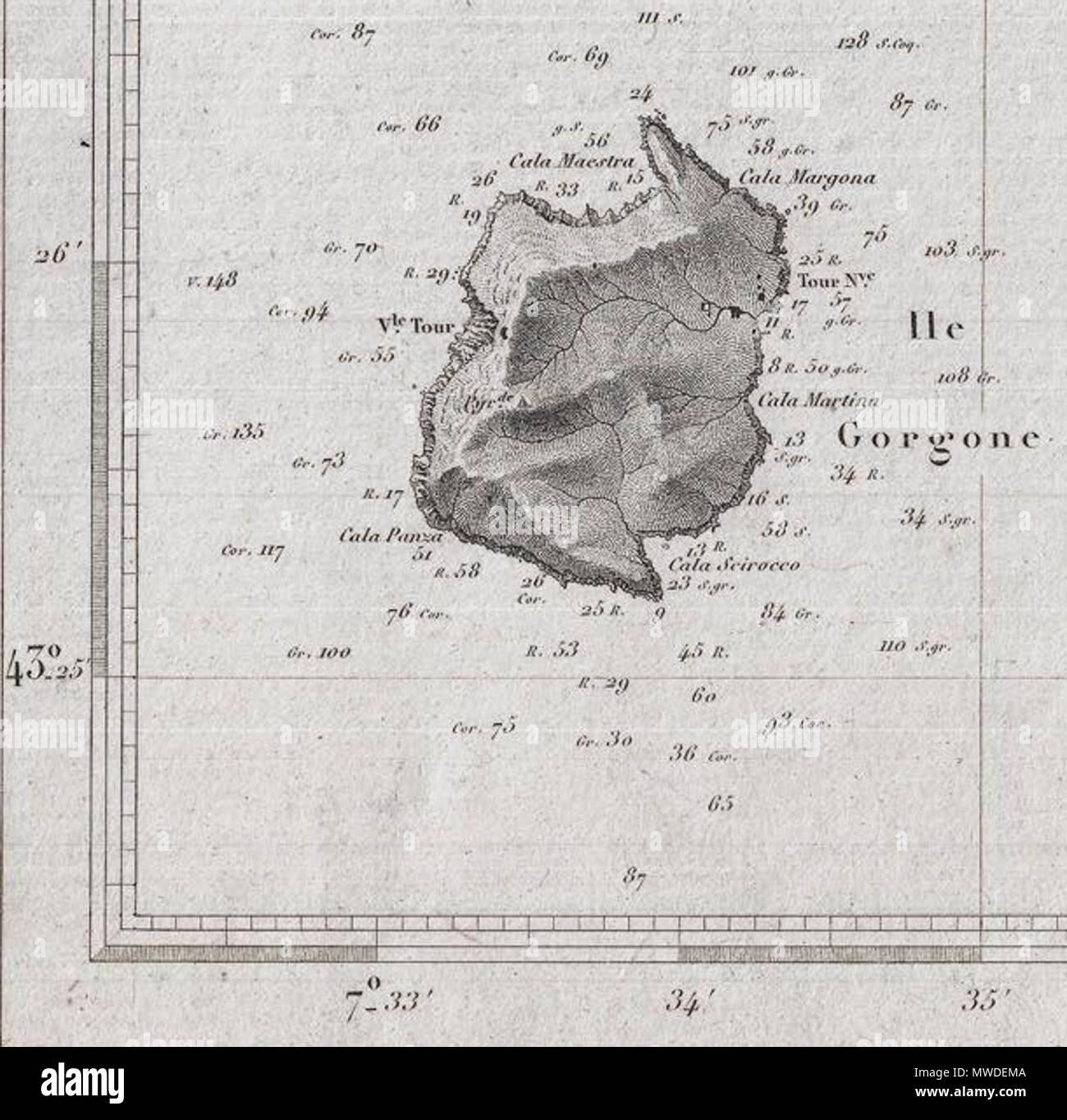 Englisch Eine Schöne Französische Nautische Karte Oder Karte 1852