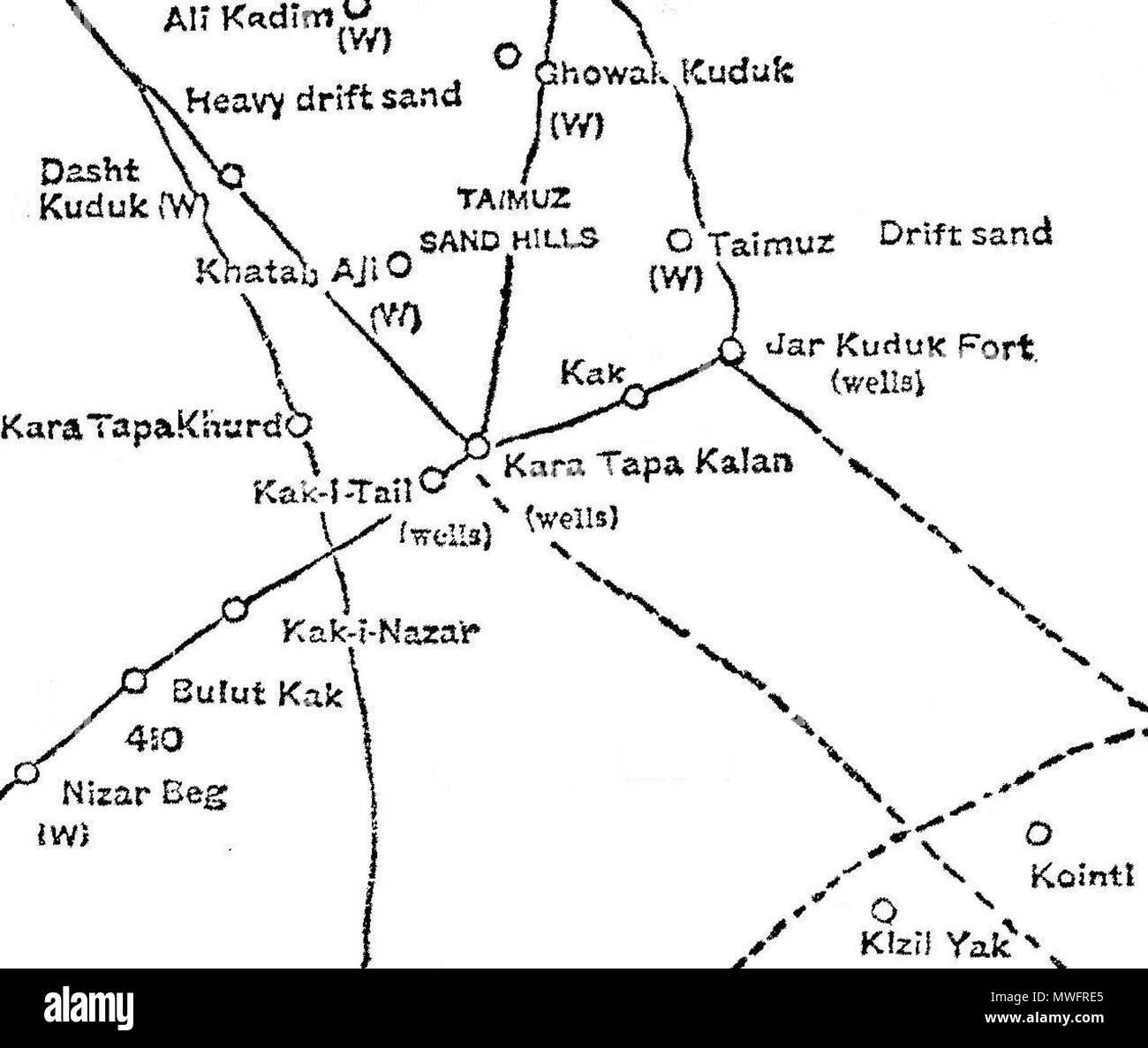 Englisch: 1886 Karte von qarah Tappeh (Kara Tapa) Bereich in ...