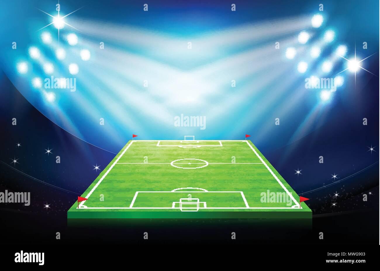 Fussball Fussball Stadion Greeen Rasenflache Mit Spot Licht In