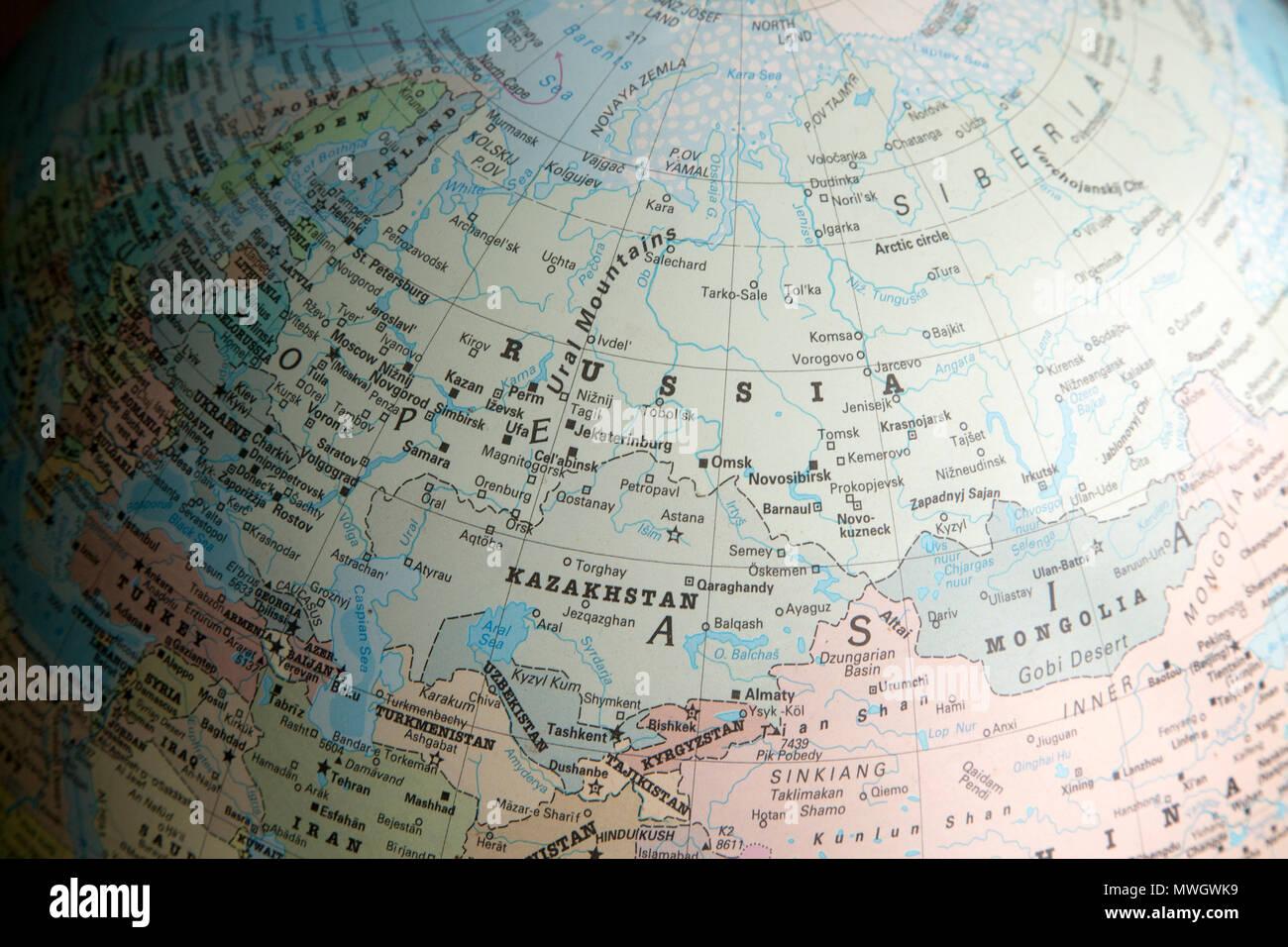 Uralgebirge Karte.Osteuropa Und Asien Karte Auf Einem Globus Auf Russland