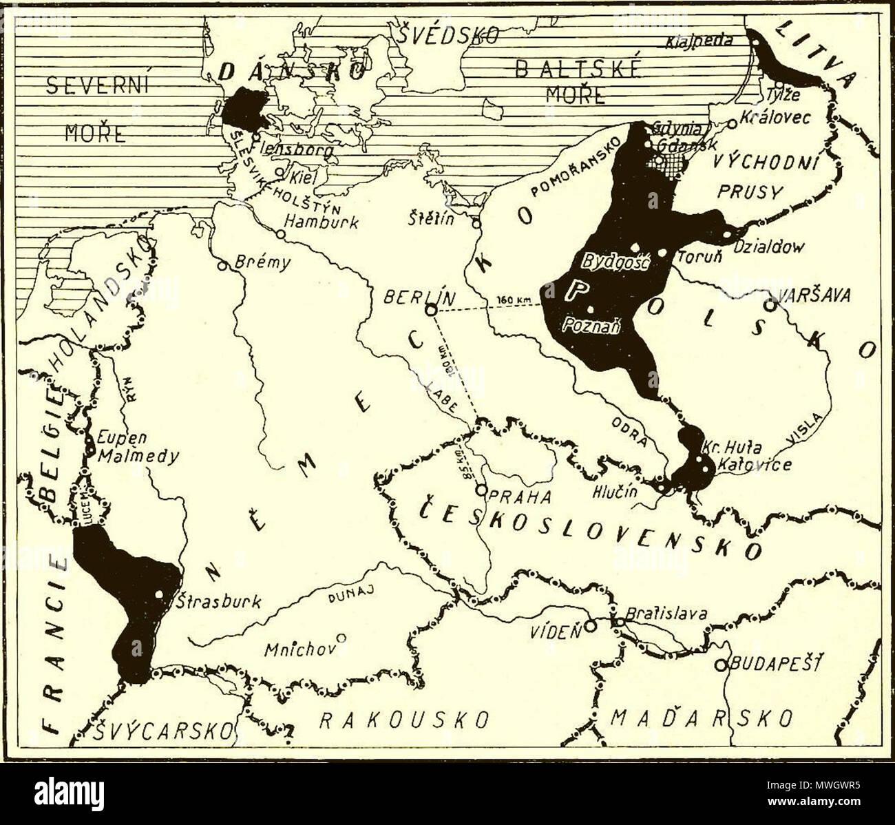 Karte Der Territorialen Verluste In Schwarz In Deutschland 1919