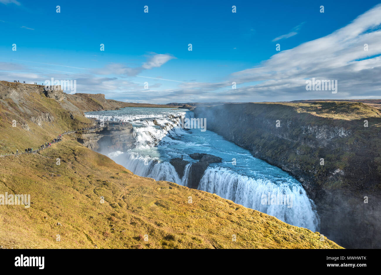 Gullfoss Wasserfall bei Golden Circle in Island Stockbild