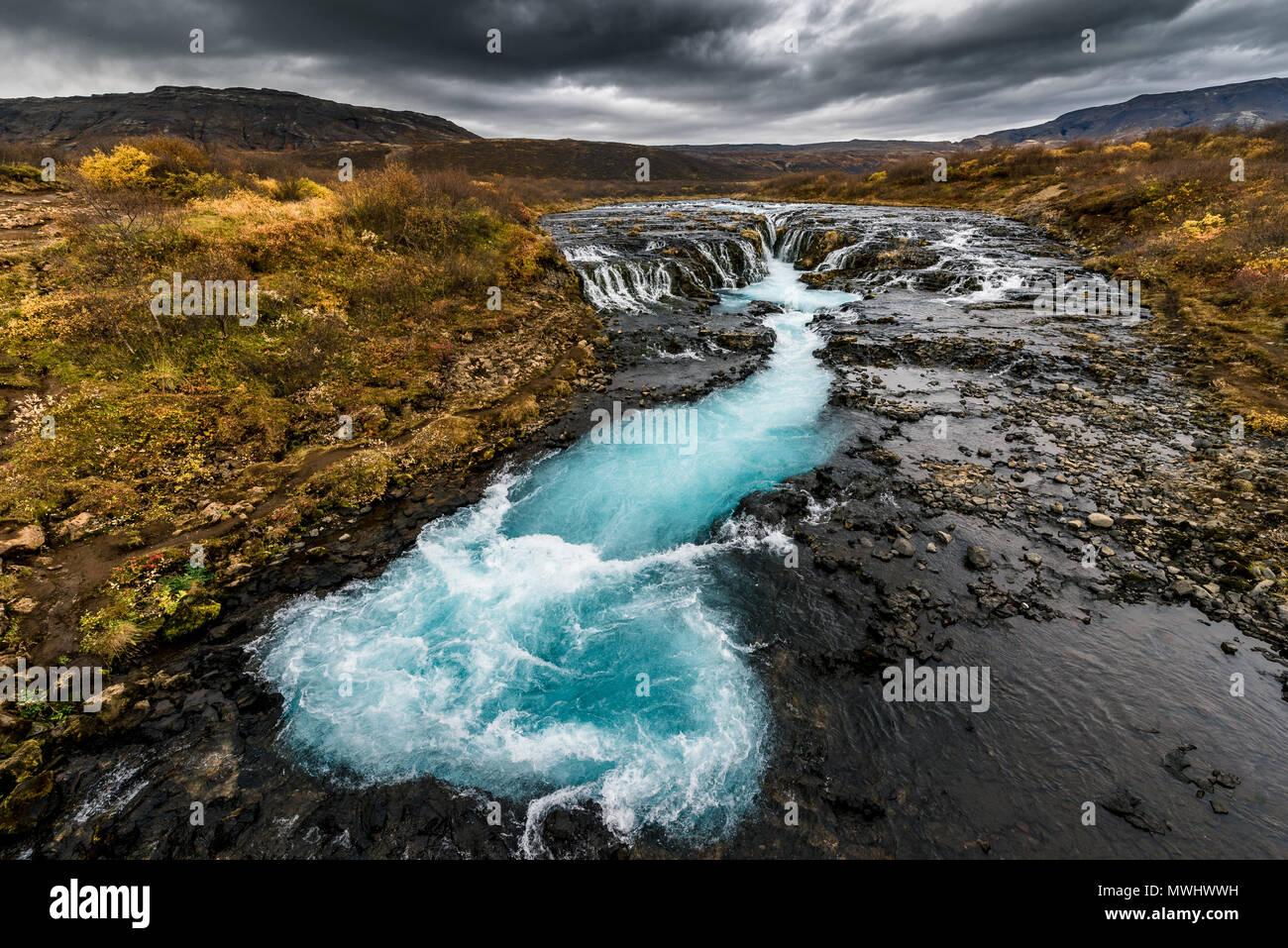 Natürlichen Whirlpool bruarfoss, Island Stockbild