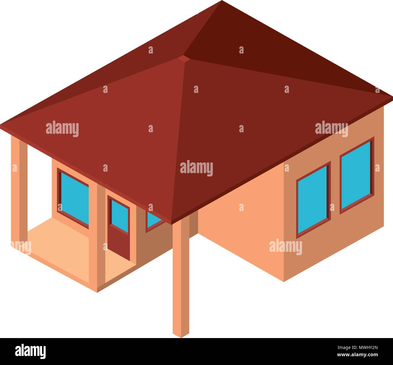 Flat 3d Isometric Design House Stockfotos & Flat 3d Isometric Design ...
