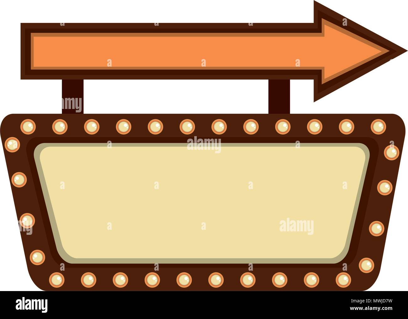 Etikett Mit Pfeil Und Leuchten Retro Stil Vector Illustration Design