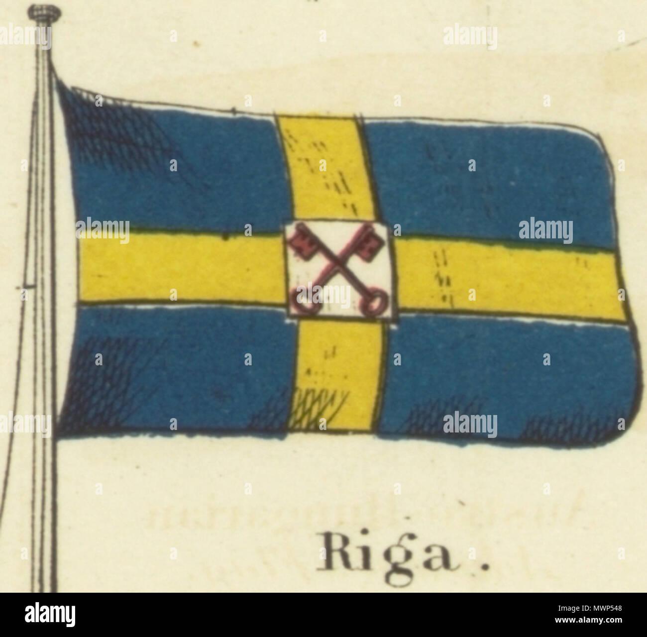 """. Englisch: Riga. Johnson's neues Diagramm der Hoheitszeichen, 1868.jpg Johnson neue Diagramm der Hoheitszeichen. Drucken mit den Flaggen der verschiedenen Länder, die von den Schiffen geflogen, und der 'Signale für Piloten."""" oben links in der Ecke ist die """"Vereinigten Staaten"""" 37-star Flag, in der rechten oberen Ecke ist die 'Royal Standard des Vereinigten Königreichs Großbritannien und Irland"""" in der unteren linken Ecke befindet sich die """"Russian Standard"""" und in der rechten unteren Ecke wird der """"französischen Standard."""" Die Flaggen auf diesem Blatt leicht von den auf einem anderen Blatt unterschiedlich nummeriert 4 [links oben] und 5 [oben rechts]. 1868. Alvin Jewett Stockfoto"""