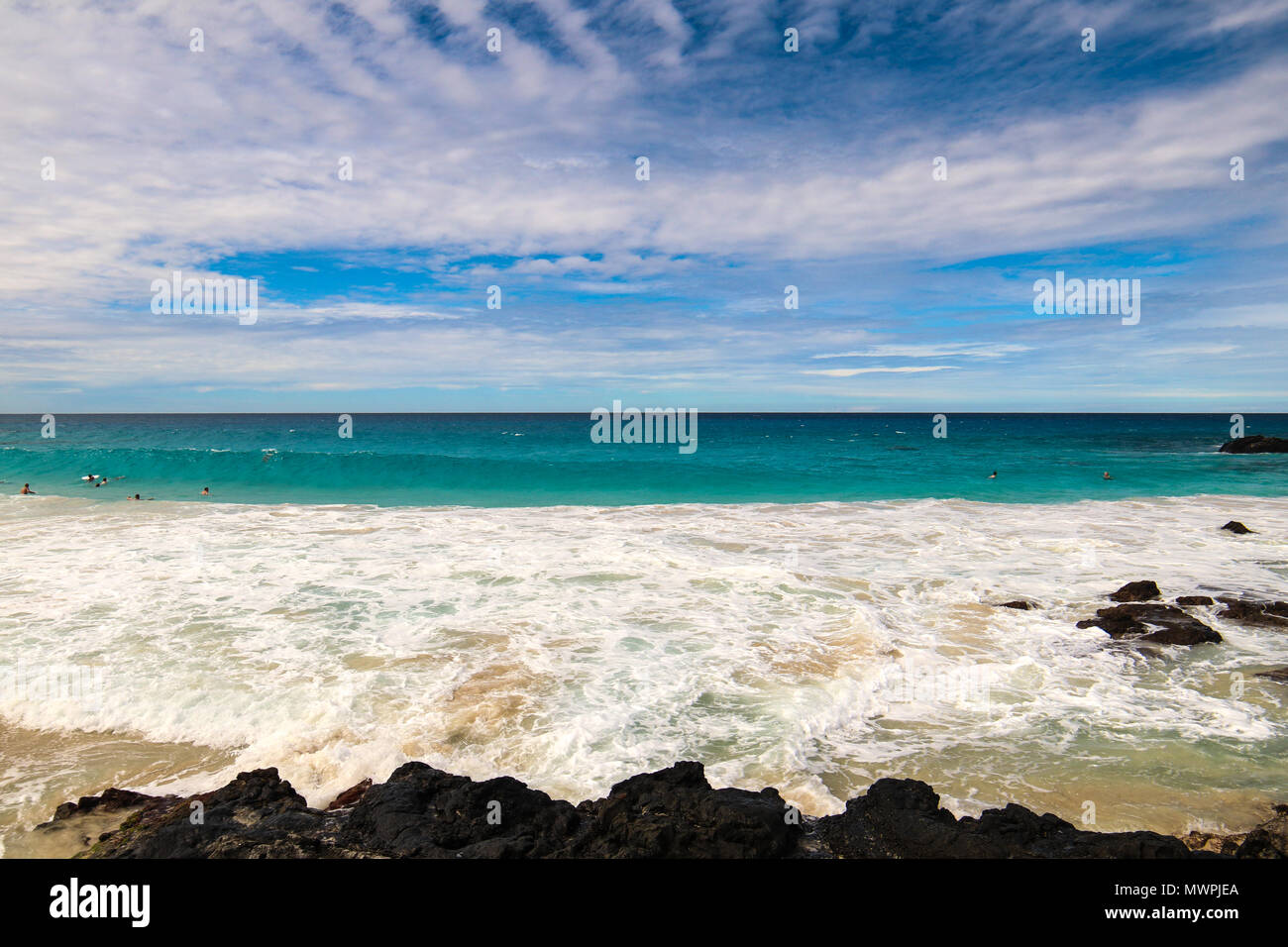 Eine der schönsten und am besten bewerteten Strände der Welt - Wailea Beach, Maui, Hawaii, USA Stockbild