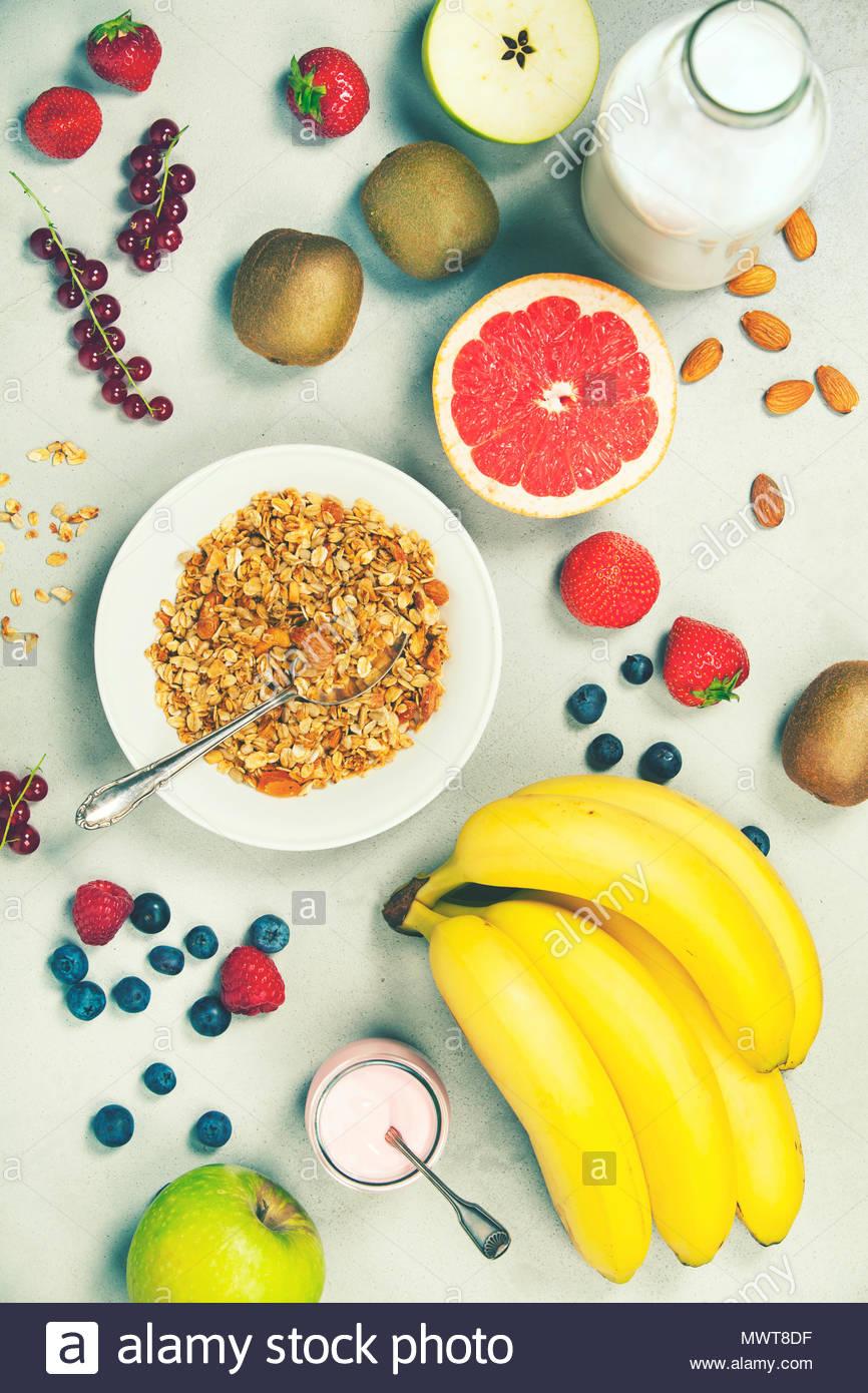 Gesundes Frühstückszutaten Stockbild