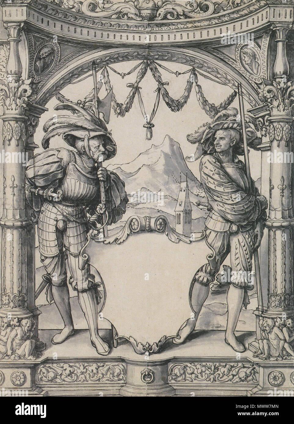 Englisch Entwurf Für Ein Glasfenster Mit Zwei Schweizer Söldner