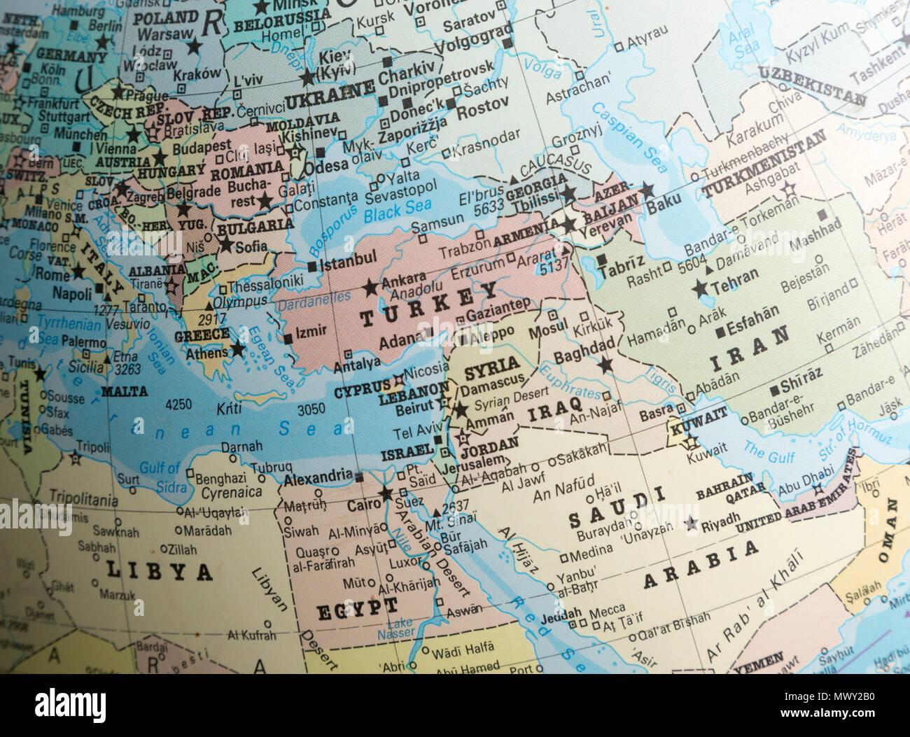 Karte Naher Osten Israel.Naher Osten Karte Auf Einem Globus Uber Die Turkei Syrien