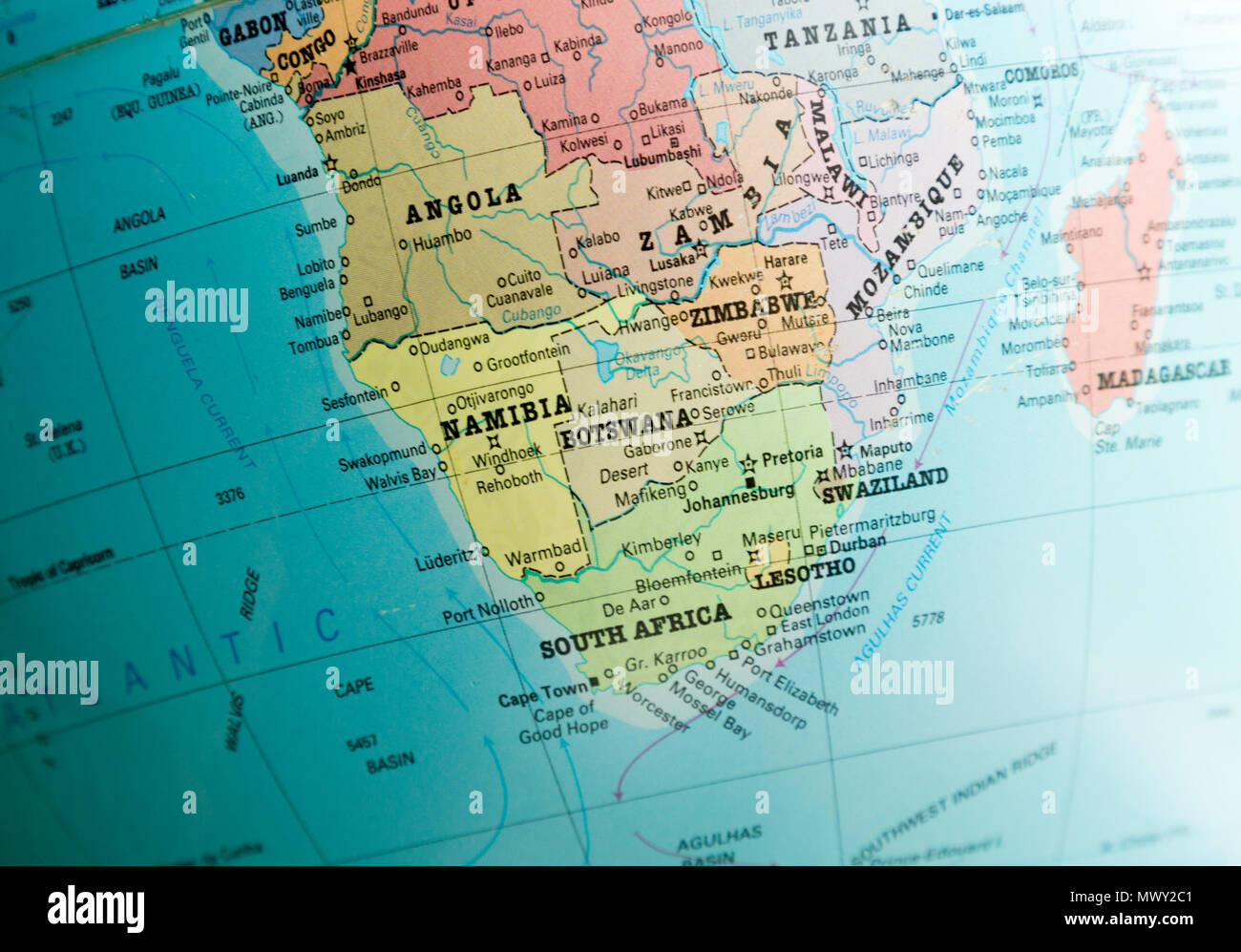 Sudliches Afrika Karte Auf Einem Globus Konzentrierte Sich Botswana Namibia Simbabwe Und Sudafrika Landkarte