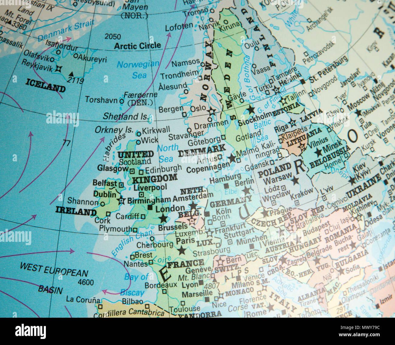 Deutschland Frankreich Karte.North West Europa Karte Auf Einem Globus Auf Das Vereinigte