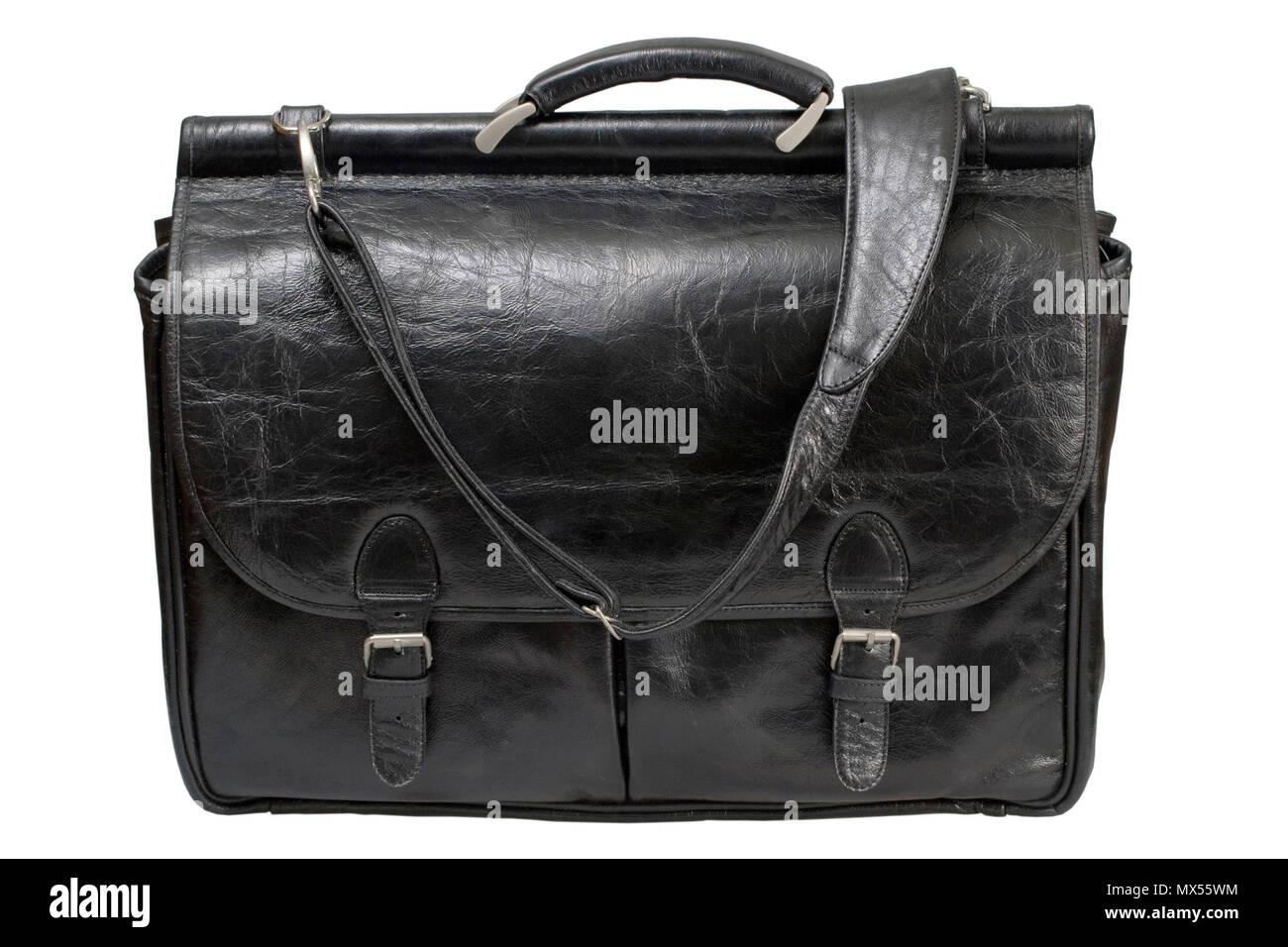 54a86afc4cbe7 Schwarz Leder tasche Corporate isoliert auf weißem Hintergrund Stockbild