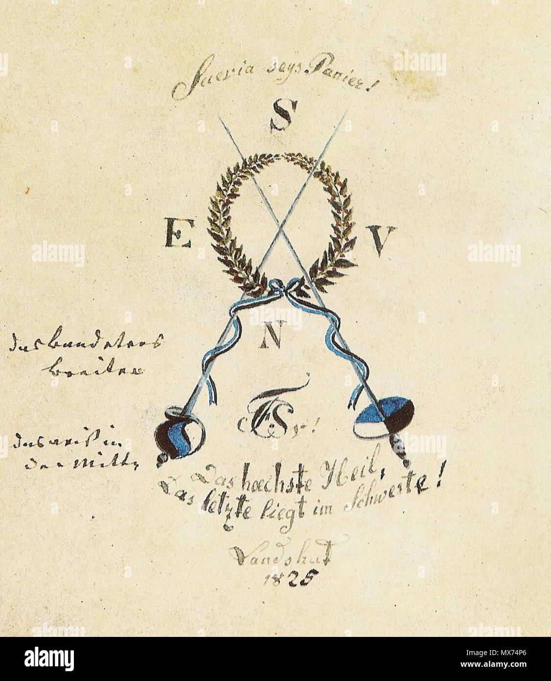 Englisch Artists Entwurf Der Bundeszeichen Des Corps Suevia