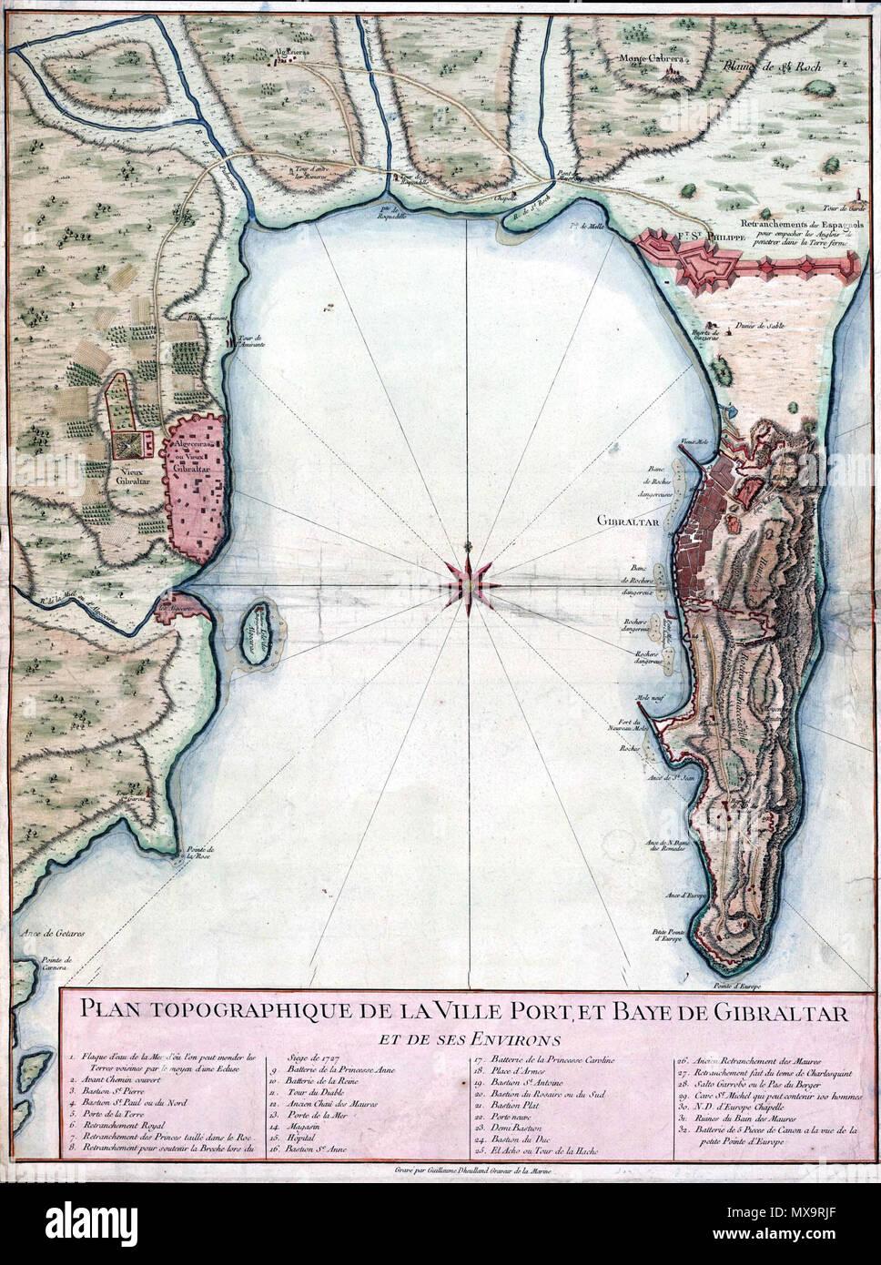 Karte Gibraltar Umgebung.Englisch Topografische Karte Von Gibraltar Und Der Bucht Von