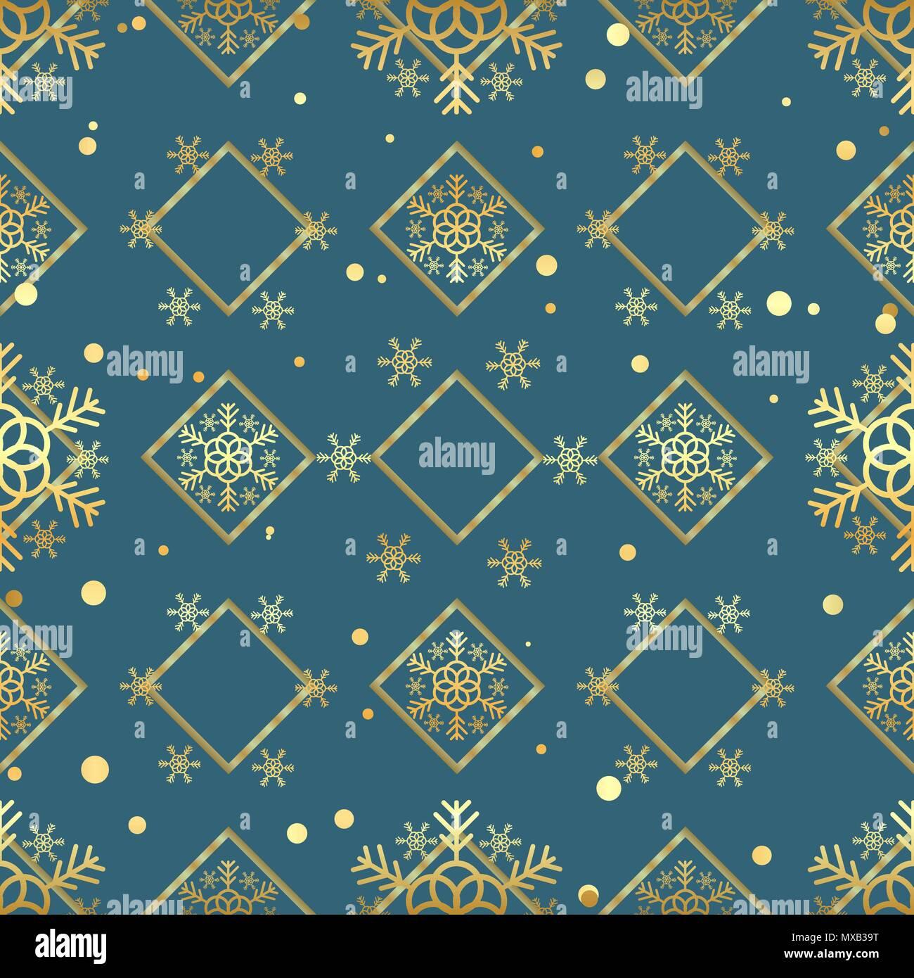 Weihnachten Gold Snowflake nahtlose Muster. Golden Schneeflocken auf ...