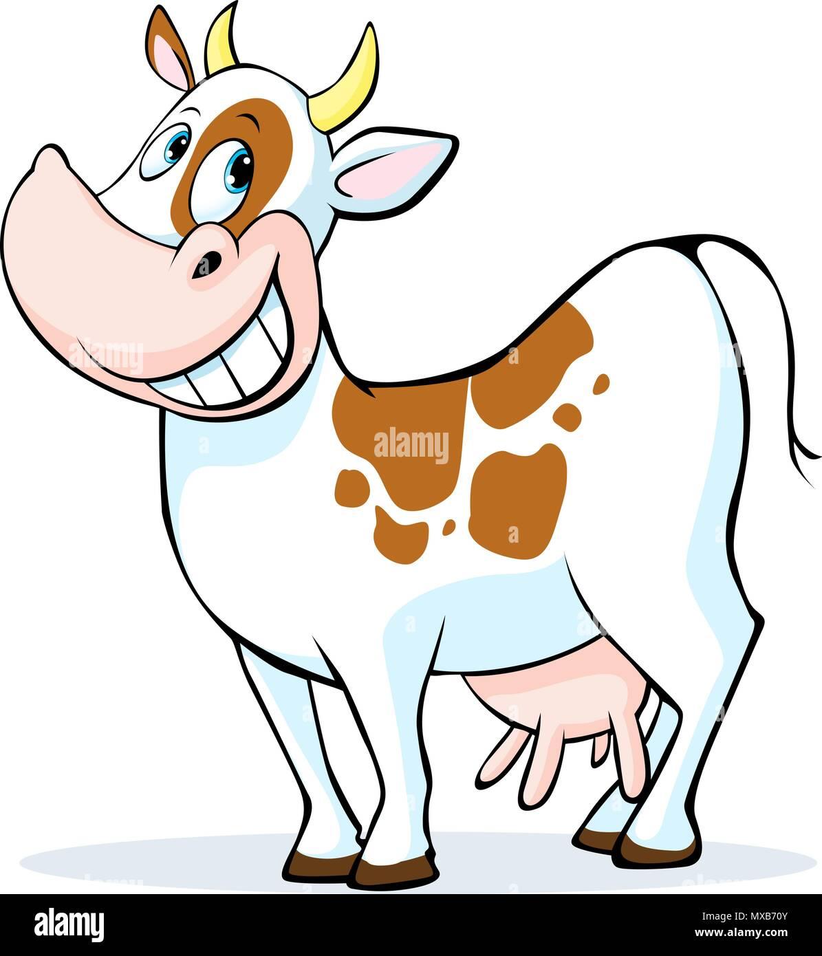 Lustige Kuh Cartoon auf weißem Hintergrund - Vector